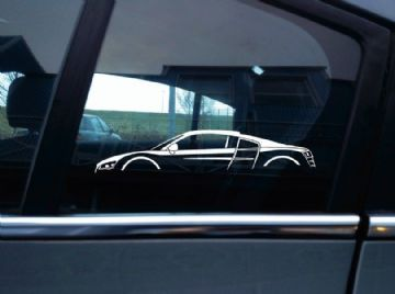 2X Car silhouette stickers - for Audi R8 Coupe (2007-2015) Supercar